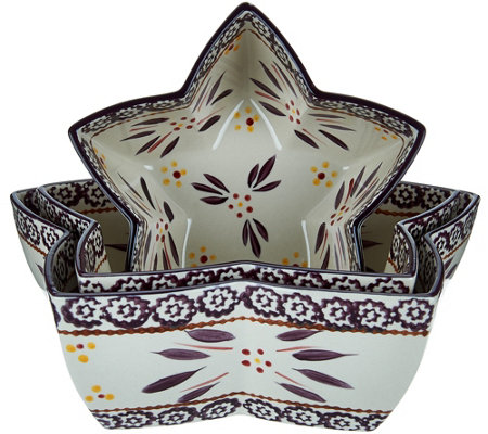 Temp-tations Old World Set of 3 Star Shaped Nesting Bowls