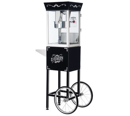 Black Matinee Movie 8-oz Antique-Style PopcornMachine w/Cart