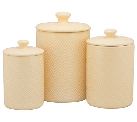 10 Strawberry Street 3-Pc Ceramic Diamond Canister Set, Yellow