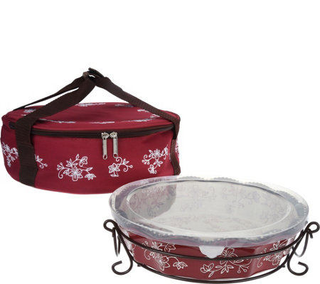 Temp-tations Floral Lace Pie Plate with Tote