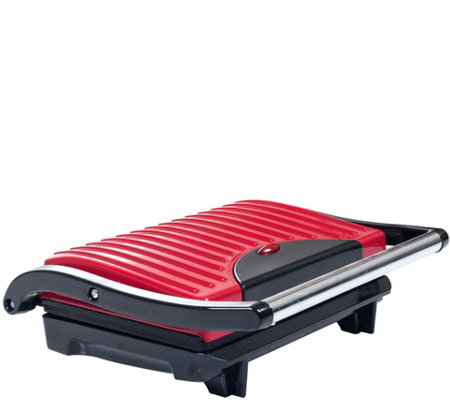 Chef Buddy Panini Press Indoor Grill w/ Nonstick Plates - Red