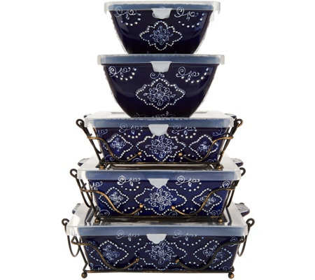 Temp-tations Swirls & Pearls 5-Piece Oven-to-Table Set