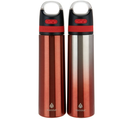 Manna Set of 2 Stainless Steel Bluetooth Water Bottles