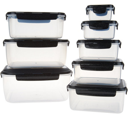 Lock & Lock 8-Piece Square Nestable Storage Set with Handle