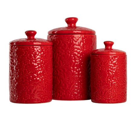 10 Strawberry Street 3-Piece Ceramic Fleur Canister Set