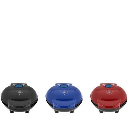 """As Is"" Yes Chef! Set of 3 Personal Waffle Makers"