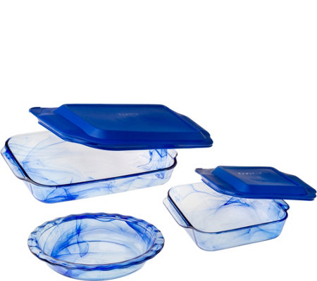 Pyrex Watercolor Blue 5-Piece Bakeware Set