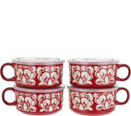 Cook's Essentials S/4 Microwavable Ceramic Mugs w/ Vented Lids