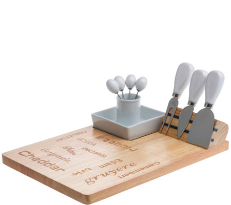 Denmark 9-Piece Wood and Porcelain Cheese Set