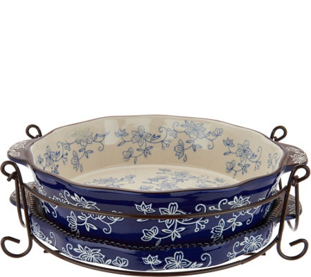 Temp-tations Floral Lace 9\  Pie Plate with Lid-it \u0026 Rack  sc 1 st  QVC.com & Temp-tations Floral Lace 9\