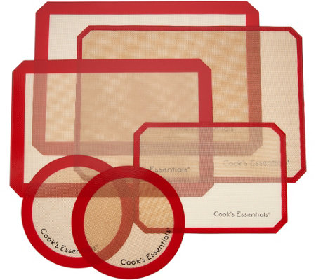 """As Is"" Cook's Essentials 6pc Silicone Crisping & Baking Mat Set"