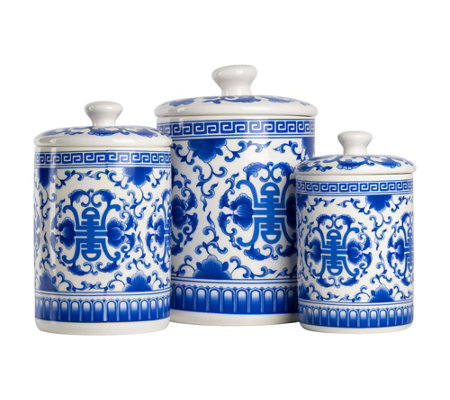 10 Strawberry Street 3 Piece Ceramic Chinoiserie Canister Set