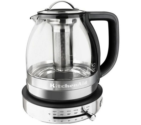 electric tea kettle kitchenaid electric glass tea kettle page 1 qvc 12602