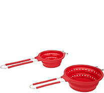 Cook's Essentials S/2 Collapsible Strainers with Handles - K47198