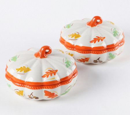 Temp-tations Set of 2 Mini Pumpkin Shaped Bakers with Lids