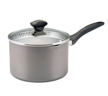 Farberware Nonstick 3-Qt Covered Straining Saucepan-Champagne