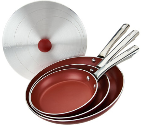 """As Is"" Cook's Essentials 4-pc Aluminum Skillets & Unversal Lid"
