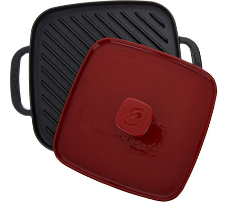 "Emeril 10"" Cast Iron Pre-Seasoned Griddle with Grill Press"