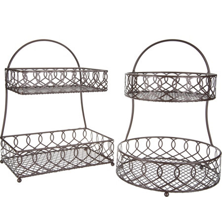 Gourmet Basics by Mikasa Set of 2 Round & Square Baskets