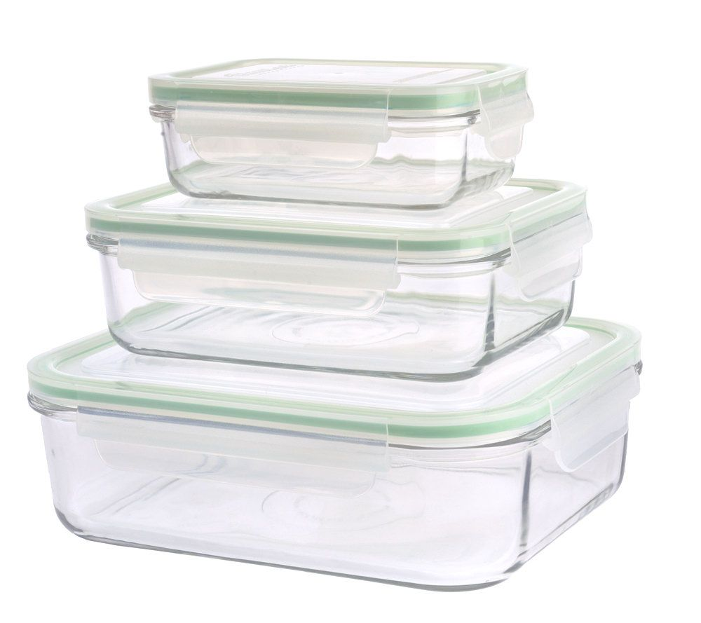 Prepology Set Of 3 Glass Storage Containers W/Locking Lids   Page 1 U2014  QVC.com