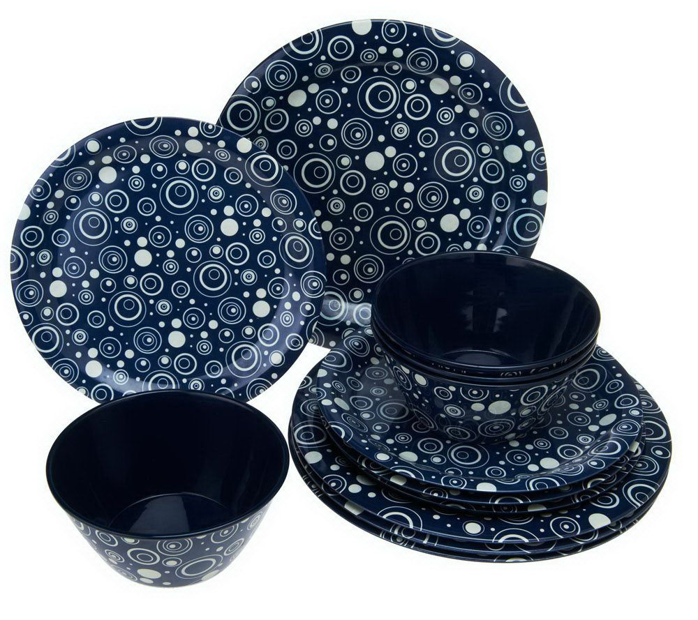 As Is  12-piece Melamine Dinnerware Set by MarKCharles - Page 1 u2014 QVC.com  sc 1 st  QVC.com : blue melamine dinnerware - pezcame.com