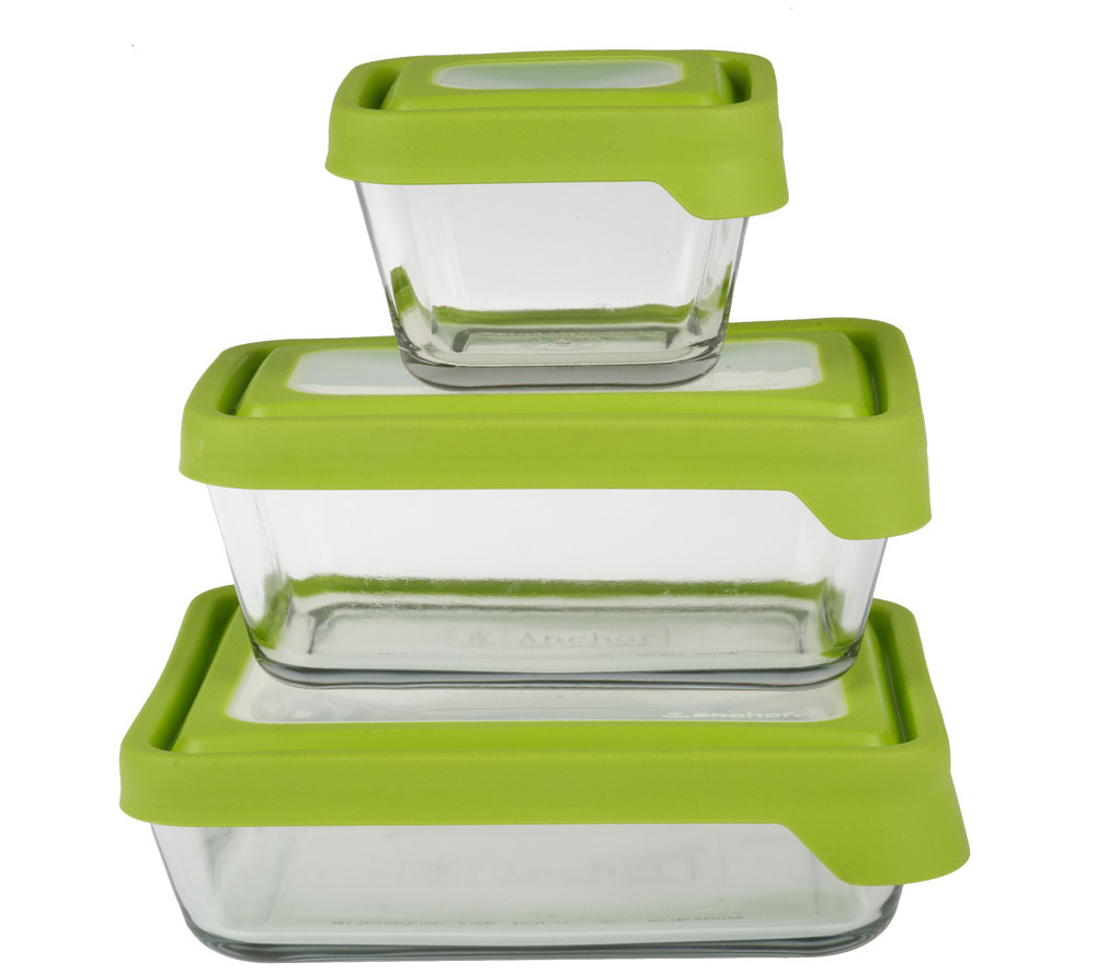 Anchor Hocking True Seal 3pc Glass Food Storage Set QVCcom