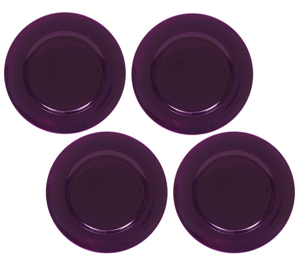 sc 1 st  QVC.com & ChargeIt! by Jay Purple Round Charger Plates -Set of 8 \u2014 QVC.com