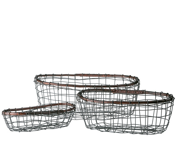 Down to Earth Set of 3 Oval Wire Baskets with Rattan Rim — QVC.com