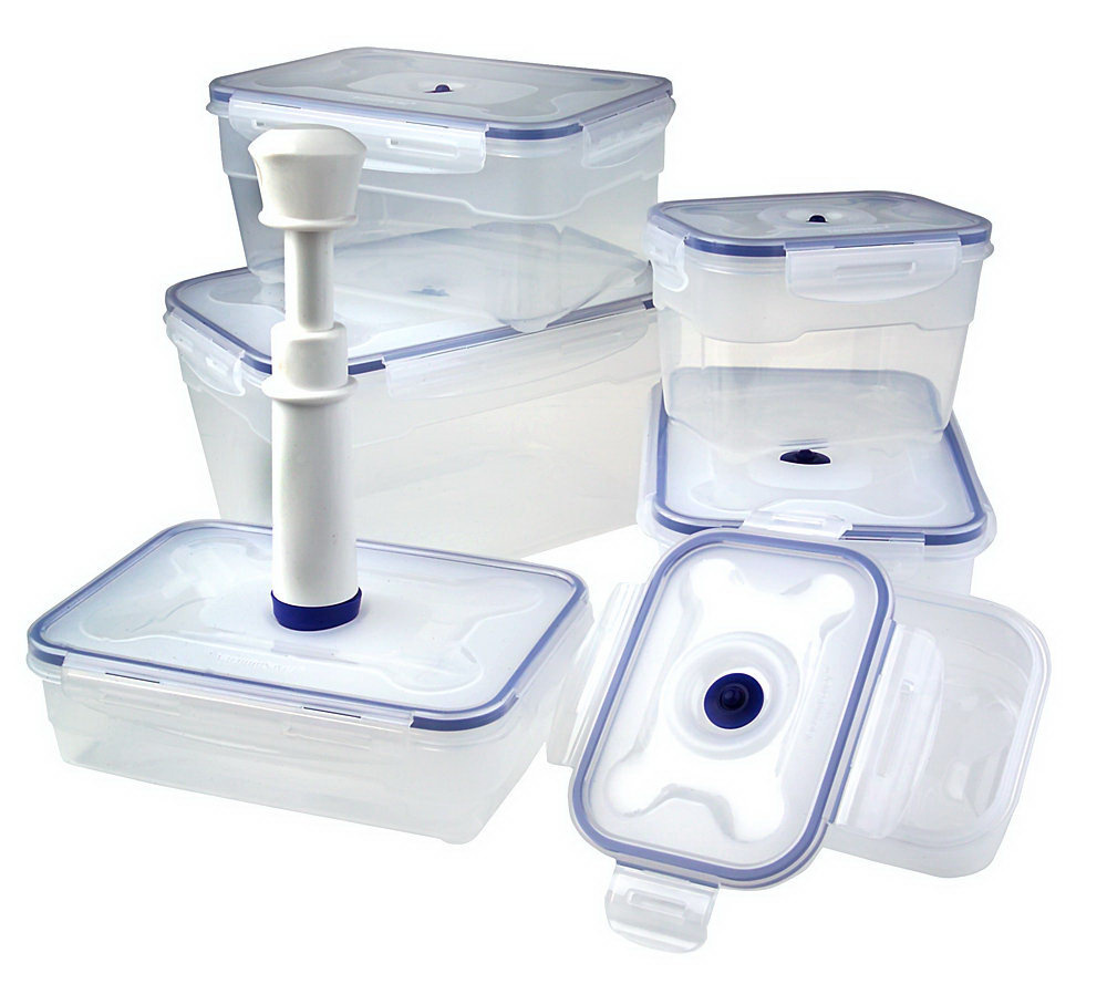 VacuumSaver 6 piece Vacuum Seal Food Storage Container Set QVCcom