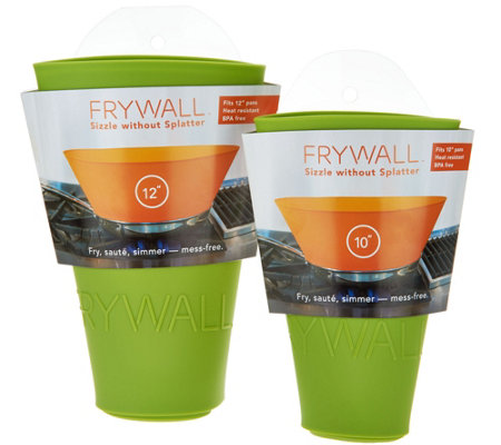 """As Is"" Frywall Set of 2 Silicone Splatter and Spill Stoppers"