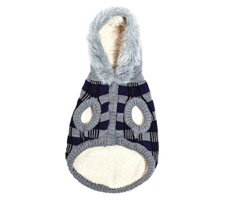 Silver Paw Fair Isle Hooded Sweater