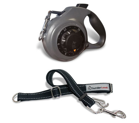 ThunderWorks Dial-A-Distance Retractable Dog Leash w/ No- Pull Extension