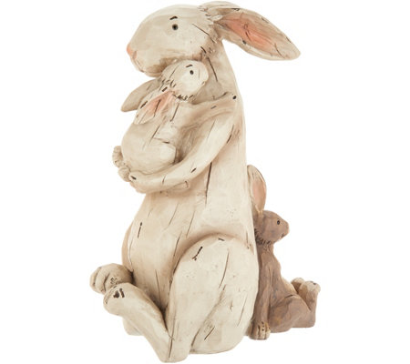 Plow & Hearth Mother Rabbit Holding Baby Bunny