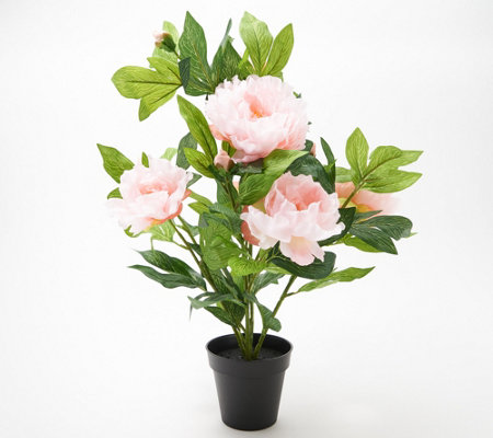 "Wicker Park 21"" Indoor/Outdoor Peony Floral in Planter"