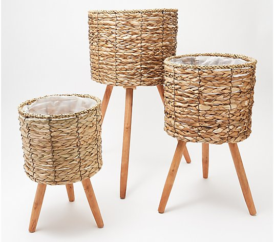 Barbara King Set of 3 Rattan Planters in Varying Sizes