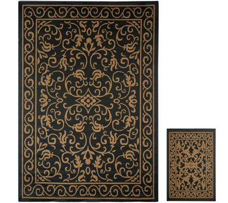 Veranda Living 5x7 Reversible Indoor/Outdoor Scroll Rug with Bonus Doormat