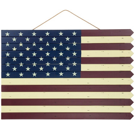 Plow & Hearth Indoor/Outdoor Wooden American Flag Decoration