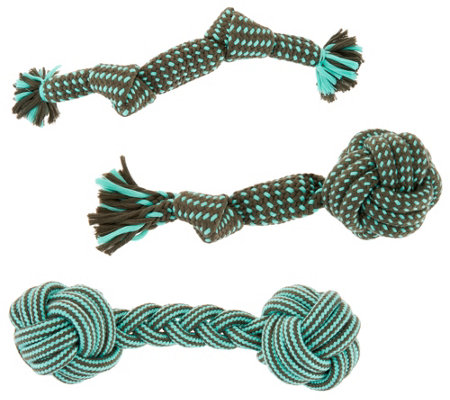 Martha Stewart Set of 3 Assorted Rope Toys for Large Dogs
