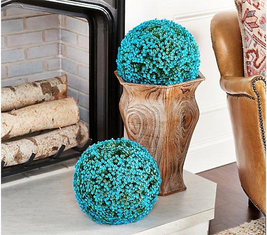 "Wicker Park Set of (2) 11"" Faux Flower Indoor/ Outdoor Garden Spheres"