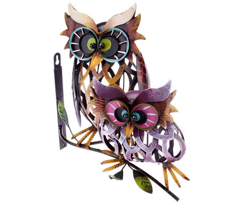 Plow & Hearth Prismatic Owl Pair Iron Wall Sculpture