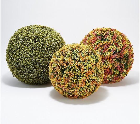 "Wicker Park Set of (2) 11"", 13"", & 15"" Indoor/ Outdoor Faux Spheres"