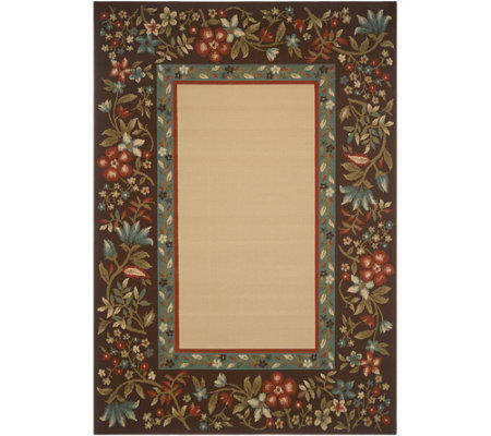 Veranda Living 5' x 7' Indoor/Outdoor Floral Border Rug