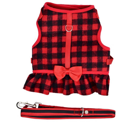 Martha Stewart Buffalo Check Dog Harness w/ Coordinating Leash
