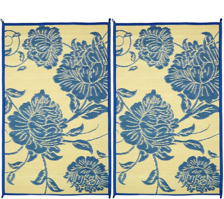 Barbara King Floral Dance Set of 2 3x5 Reversible Outdoor Mats