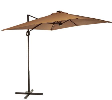 ATLeisure 8.5u0027 Square Olefin Solar Offset Patio Umbrella