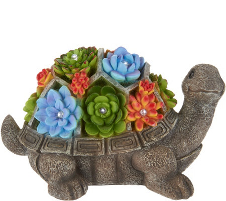 Plow & Hearth Animal Statuary with Illuminated Succulents