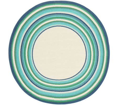 "Veranda Living Indoor/Outdoor 78"" Round Multi Color Stripe Border Rug"