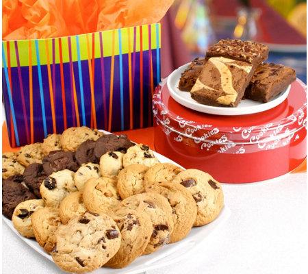David S Cookies Blue Stripe Box Assorted Cookies Brownies
