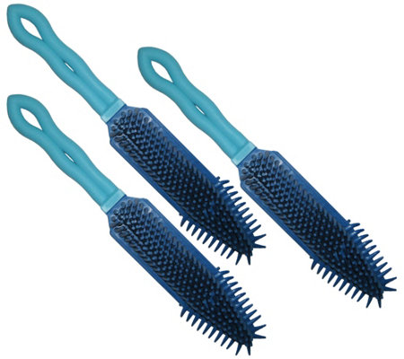 Don Aslett S Set Of 3 Rubber Hand Brushes