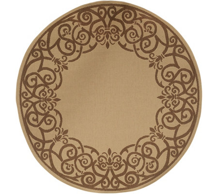 "Veranda Living 78"" Round Indoor/Outdoor Reversible Filigree Rug"